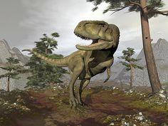Abelisaurus Dinosaur - Render by Elenarts - Elena Duvernay Digital Art Cloudy Day, Prehistoric, Fine Art America, Digital Art, Lion Sculpture, Elephant, Statue, Canvas, Prints