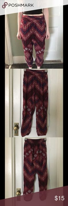 American Eagle Boho Capris ~ I call these yoga pants, because they are so flexible and comfy for activities like yoga or hula hooping! The main color is a deep burgundy, with dark and light blues, and tans. American Eagle Outfitters Pants Capris