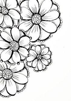 New Art Journal Flowers Doodles Ideas Colouring Pages, Adult Coloring Pages, Coloring Books, Doodle Drawings, Doodle Art, Zen Doodle, Mandala Art, Flower Doodles, Doodle Flowers
