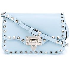 Valentino Garavani 'Rockstud' crossbody bag ($1,435) ❤ liked on Polyvore featuring bags, handbags, shoulder bags, blue, blue crossbody, blue crossbody handbag, valentino purses, crossbody shoulder bags and blue cross body purse