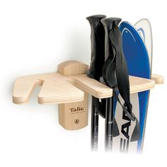 An attractive way to stash your skis and poles. This ski storage rack mounts to the wall and holds either alpine or cross country skis and poles.