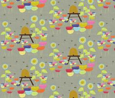 FCQ bee hive - grey linen fabric by vanillabeandesigns on Spoonflower - custom fabric