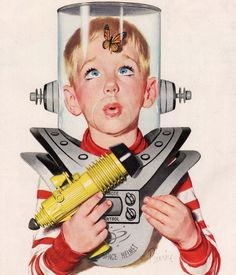 Butterfly in His Space Helmet - detail from cover Colliers Magazine April 18, 1953.