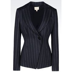 ARMANI COLLEZIONI Pinstripe Jacket ($1,075) ❤ liked on Polyvore featuring outerwear, jackets, dark blue, one button jacket, dark blue jacket, pinstripe jacket, lapel jacket and armani collezioni