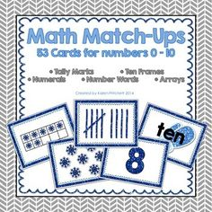 FREE!!!! 53 Winter themed flashcards for matching games, sorting, and centers. Covers tally marks, number words, ten frames, numerals, & arrays. Covers numbers 0-10
