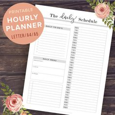 Hourly Planner Printable: Daily Schedule  by PrintablePineapple