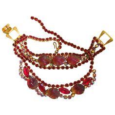 50% off during RedTag Sale, ends 11/29 8am PST!  Vintage Red Molded Glass Fruit / Acorn Necklace and Bracelet Set