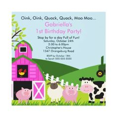 Barnyard Animal Fun Birthday Party Pink Girls Invitations by celebrateitinvites