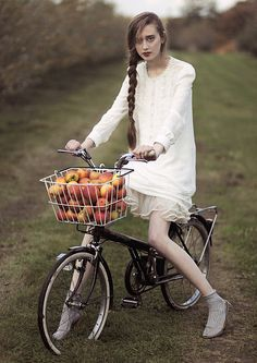Okay so being in a giant apple grove and getting to ride a bike all day with friends/family with a really cute outfit, great makeup, and gorgeous hair...yep, my style :) :)