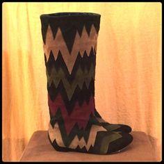 Suede Zig-Zag Boots