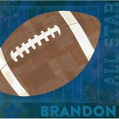 "GreenBox Art 'Football All Star' by Vicky Barone Personalized Graphic Art on Canvas in Blue Size: 14"" H x 14"" W"