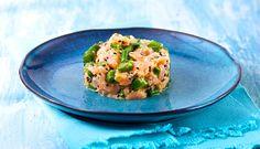 Dale un toque diferente al clásico Tartar de Salmón Noruego y sustituye la suavidad del aguacate por la intensidad del espárrago verde. ¡Todo un descubrimiento!