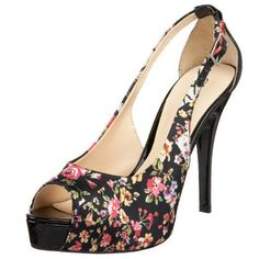 GUESS 'Hondo2' Black Floral-printed Silk  peep-toe connected slingback covered platform stiletto heel Pump