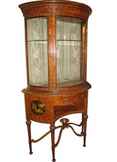 View this item and discover similar for sale at - This Sheraton Revival period vitrine in satinwood features its original hand-painted floral and figural designs. Vintage China Cabinets, China Cabinet Display, Upper Cabinets, Queen Anne, Cabinet Doors, French Quarter, Baron, The Originals, Antiques