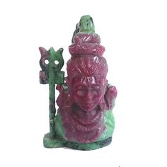 Natural Ruby Zosite carved Lord Shiva Statue