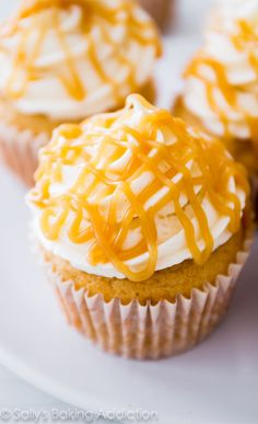 Butterscotch Filled Brown Sugar Cupcakes by sallysbakingaddiction.com