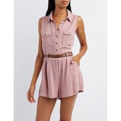 058a10da8021 Charlotte Russe Button-Up Shirt Cargo Romper ( 23) ❤ liked on Polyvore  featuring jumpsuits