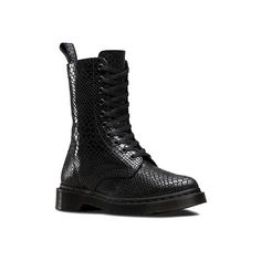 Dr. Martens Alix 10 Boots ($145) ❤ liked on Polyvore featuring shoes, boots, black hi shine snake, short leather boots, short black boots, black boots, snake boots and zipper ankle boots