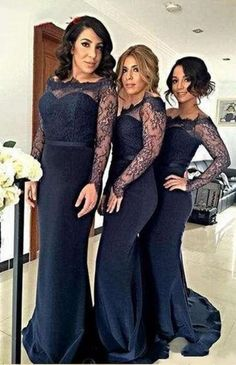 New Long Sleeves Cheap Bridesmaid Dresses Lace Satin Mermaid Cheap Prom Dresses Full Length Modest Off-shoulder Party Dresses