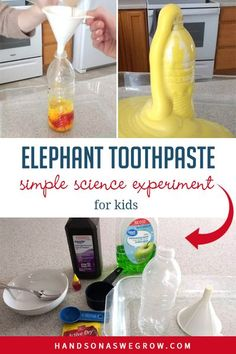 Exciting elephant toothpaste science experiment for kids that is sure to bring amazement! Perfect for your little scientist at home. Watch what will happen! Creative Activities For Kids, Outdoor Activities For Kids, Science For Kids, Toddler Activities, Preschool Activities, Food Science, Easy Science Experiments, Science Lessons, Science Projects