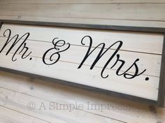 Mr. & Mrs. | Farmhouse Bedroom Decor | Wood Painted Sign | Farmhouse Decor | Solid Wood Sign | Rusti Painted Signs, Hand Painted, Rustic Wedding Signs, Farmhouse Bedroom Decor, Real Wood, Painting On Wood, Simple Designs, Rustic Decor, Wood Signs