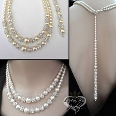 Pearl necklace  Brides necklace  2 strand  by QueenMeJewelryLLC
