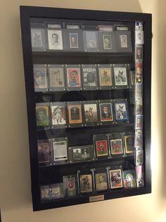 Baseball cards display Hockey Cards, Basketball Cards, Baseball Card Displays, Display Shelves, Display Cases, Collector Cards, Displaying Collections, Basement Remodeling, Rustic Furniture