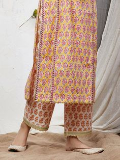 Yellow Pink Hand Block Printed Cotton Kurta with Palazzo- Set of 2 Salwar Designs, Kurta Designs Women, Kurti Designs Party Wear, Dress Neck Designs, Blouse Designs, Casual Indian Fashion, Kurti Embroidery Design, Kurta Palazzo, Kurta Neck Design