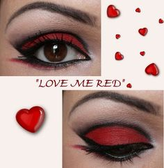 fierce black and red eye make-up. Perfect for Valentine's Day...
