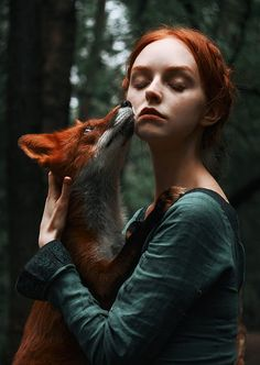 Fairy-tale photographs of redhead and red fox | Vuing.com