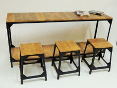 Tables tools chairs chest raw for professionnal restaurants loft in a Industrial Design Contemporary style with then a minimum order quantity . Rustic Design, Industrial Design, Rustic Console Tables, Style Rustique, Restaurant, Contemporary Style, Vintage Designs, Furniture Design, Chair