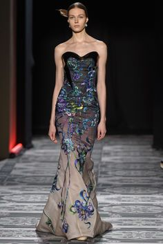 Stunning Evening Gown with Rich Colors of Blue, Touch of Black by Laurence Xu Couture Spring 2015