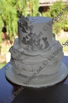 Silver Wedding Ruffle Cake