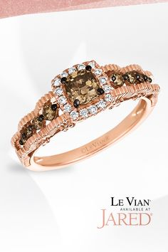 Taste the legend of Le Vian. Sparkling Vanilla Diamonds sweetly frame a bold Chocolate Diamond that sits perfectly on top of this Strawberry  Gold band. So yummy! Chocolate Diamond Wedding Rings, Diamond Jewelry, Gemstone Jewelry, Le Vian, Diamond Stone, Black Rings, Gold Bands, Colored Diamonds, Fashion Rings