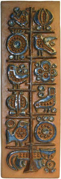 """Bird motif plaque, 17"""" x 4.5"""".  Frejasway Ceramics"""