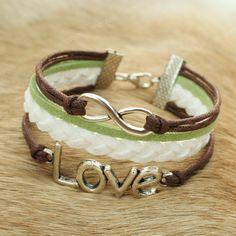 Love infinity bracelet - love bracelet with infinity symbol $7.99, via Etsy.  I love these colors!