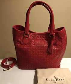 Cole Haan Genevieve Nwt! Woven Leather Weave Tote Crossbody Tango Red Satchel. Save 20% on the Cole Haan Genevieve Nwt! Woven Leather Weave Tote Crossbody Tango Red Satchel! This satchel is a top 10 member favorite on Tradesy. See how much you can save GORGEOUS!!! NEW WITH TAGS!!! VERY RARE!!! EXCELLENT GIFT!!! SALE!!! WOW!!!