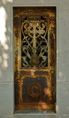 rusted metal door with beautiful cross- a Joshua 24:15 door