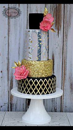 Birch Trees, Pink, Black & Gold Cake