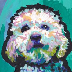 Heres a wonderful, bright, fun, tribute to your best friend and favorite breed- the Maltipoo!  printed from an original painting by Lea Your print