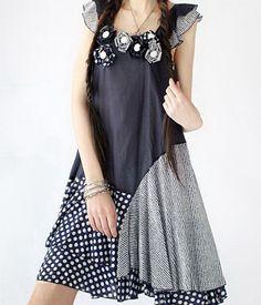 Blue Blossoms Silk Dress-zeniche.com SKU ab0068