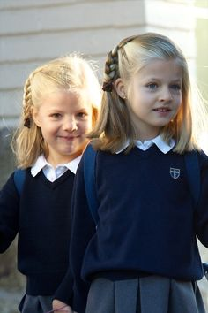 Princess Sofia (L) and Princess Leonor (R) of Spain. Madrid, Spain.