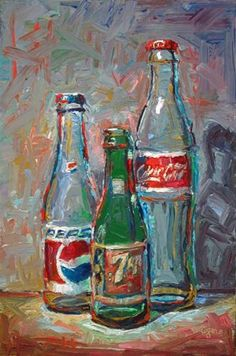 "Daily Paintworks - ""Three of Js Bottles"" - Original Fine Art for Sale - © Raymond Logan"
