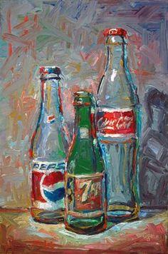 "Daily Paintworks - ""Three of Js Bottles"" - Original Fine Art for Sale - © Raymond Logan"