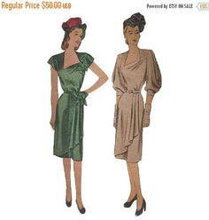 SALE Vintage 1940s Draped Evening Dress Pattern Bust 38 McCall 6598 Asymmetrical Neckline Cap Sleeve or Draped Elbow Length Sleeve