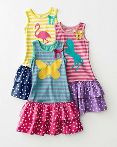 Harper Dropwaist Dress - Girls, love the flamingo for Spring and Summer. Little Girl Fashion, Kids Fashion, Clothing Patterns, Dress Patterns, Little Girl Dresses, Girls Dresses, Drop Waist, Baby Sewing, Baby Dress
