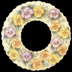 Pansy wreath painted by Shikisai (Japan)