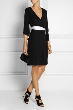 DVF Satin-trimmed wrap dress