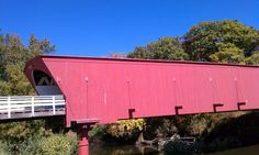 "Hogback Covered Bridge - one of the 6 covered bridges in Madison County, Iowa. This is where one of the great scenes of the movie ""Bridges of Madison County"" was filmed. - photo by Renda Lutz"