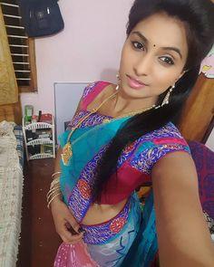 Indian girl taking her selfie in saree